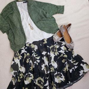 Beautiful Brown Moss Green Floral Linen Skirt